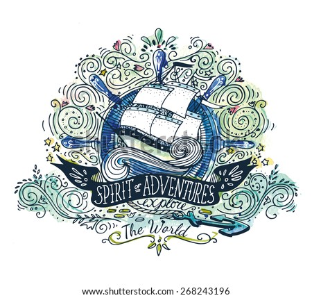 Watercolor vintage label with a ship and hand lettering. The watercolor and ink drawings are two different layers. - stock vector