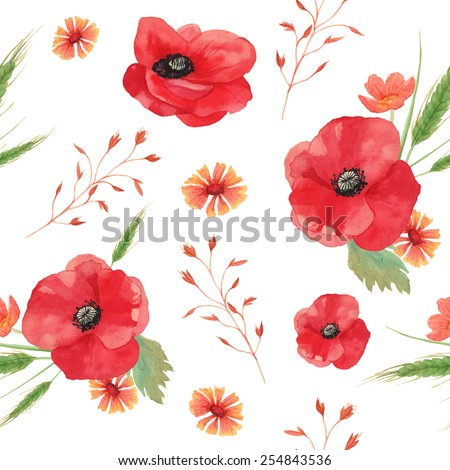 Watercolor vintage seamless background with field flowers and herbs. Pattern with hand painted poppy, cornflower, spikelet, horsetail field, buttercup, grass and leaves. Vector floral texture.  - stock vector