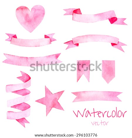 Watercolor vintage set of elements and ribbons in pink color. Hand drawn isolated objects for romantic or wedding design. - stock vector