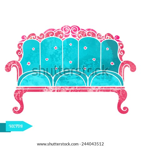 Watercolor vintage sofa with pattern closeup isolated on a white background - stock vector