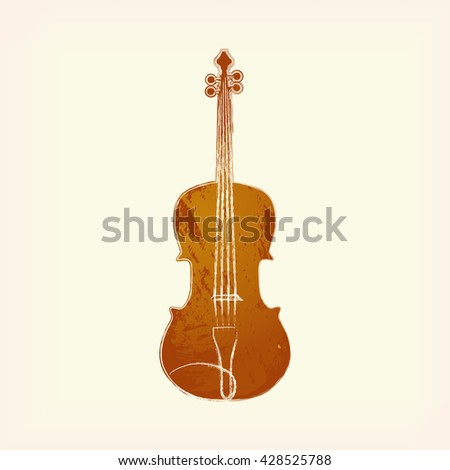 Watercolor Violin Isolated Painted Design Element Music Classic Creation Icon