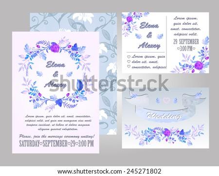 watercolor wedding invitation - vector illustration - stock vector