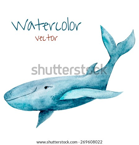 Watercolor whale. Hand drawn vintage illustration.  - stock vector