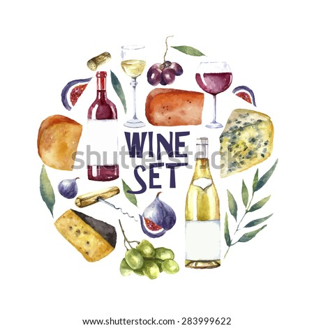 Watercolor wine and cheese frame. Hand draw round card background with  food objects. Red wine bottle and glass, white wine bottle and glass, grapes, cheeses, figs and green twig. Vector background. - stock vector