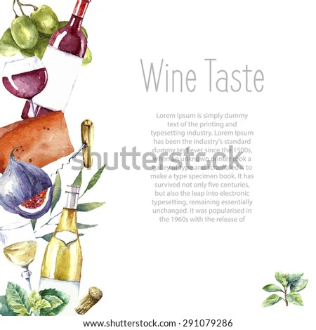 Watercolor wine and cheese frame. Hand painted food objects. White and red wine bottle and glass, fig, cheeses, figs and green mint. Vector background. - stock vector