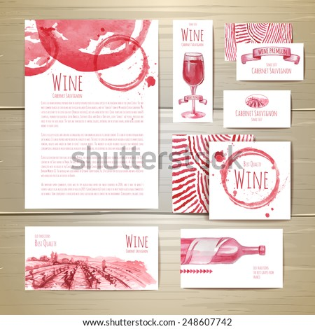 Watercolor Wine concept design. Corporate identity - stock vector