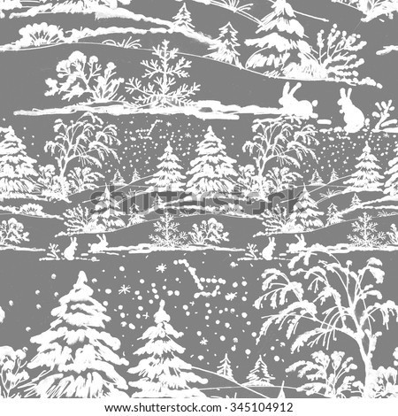 Watercolor winter Coniferous forest landscape with rabbits, seamless pattern on gray background, vector illustration - stock vector