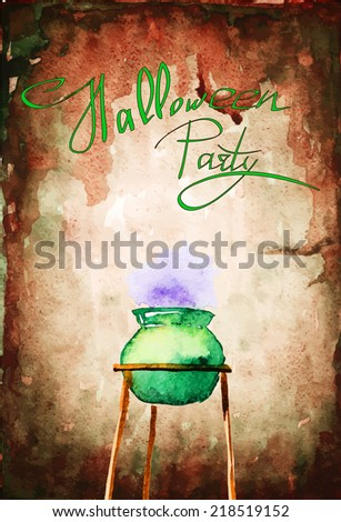 Watercolor witch boiler, vector - stock vector