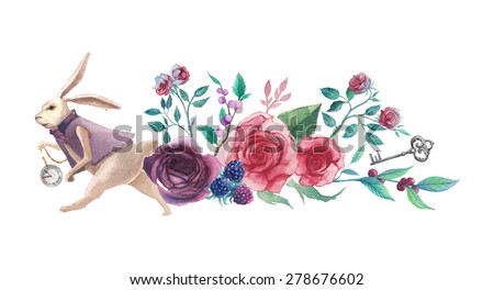 Watercolor wonderland banner. Hand drawn vintage art work with white rabbit, roses, silver key and berry branch. Vector floral illustration isolated on white background - stock vector