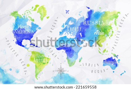 Watercolor world map vector format green vectores en stock 221659558 watercolor world map in vector format in green and blue colors on a background of crumpled gumiabroncs Gallery