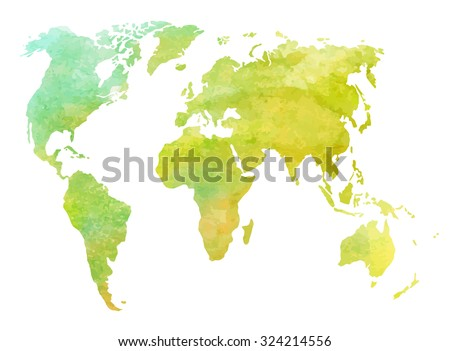 Watercolor world map. Isolated on white. EPS 10 vector illustration.  - stock vector