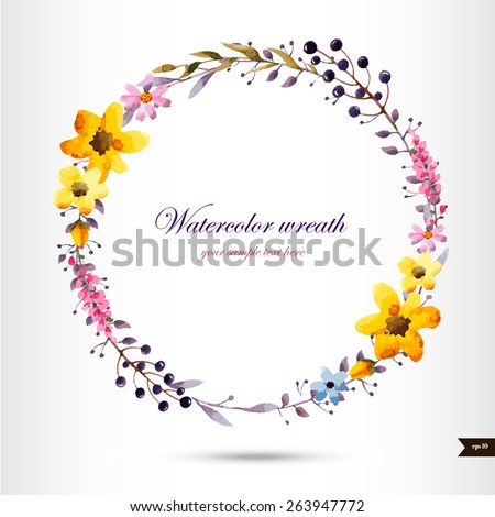 Watercolor wreath with flowers,foliage and branch.Vector illustration