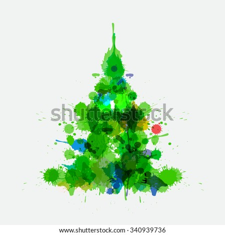 Watercolor xmas tree isolated on the gray background. Christmas tree for post card and posters. Watercolor painting imitation with spots and blur. Cute vector illustration for your design. - stock vector