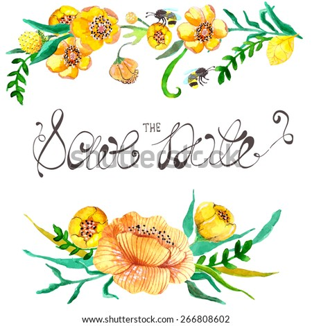 Watercolor yellow and green flowers and bee for wedding design Vector - stock vector