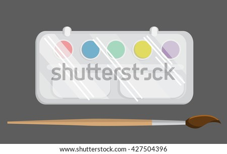 Watercolors and paintbrush. Back to school vector illustration.Color combinations.  Flat design. Flat paints with a brush isolated on a gray background - stock vector