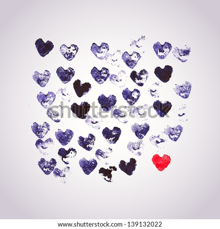 Watercolors vector background with heart stamp, many heart shapes. Be unique, One love concept - stock vector