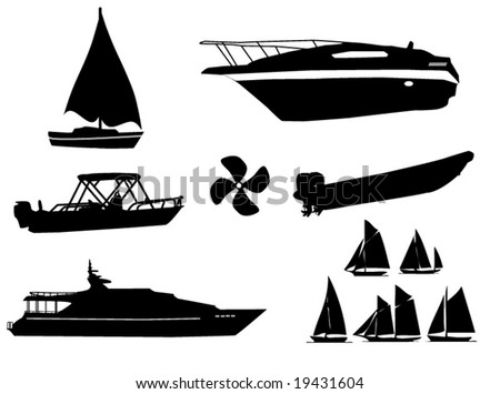 watercraft silhouettes - stock vector