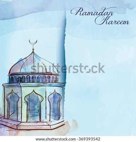 Waterecolor sketch mosque greeting card template Ramadan Kareem - Translation of text : Ramadan Kareem - May Generosity Bless you during the holy month - stock vector