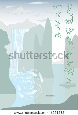 Waterfall fairyland - stock vector