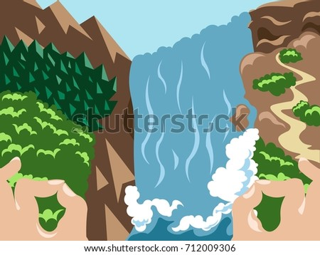 Waterfall mountain landscape in tropical forest. Serenity, nature, peace, mindfulness concept illustration vector.