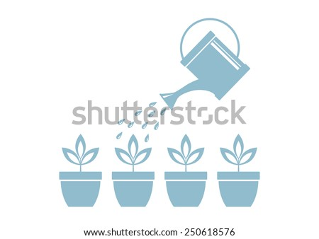 Watering can and plants on white background - stock vector