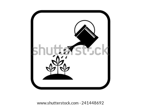 Watering can icon on white background - stock vector