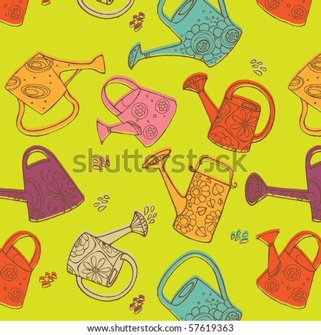 watering cans seamless pattern
