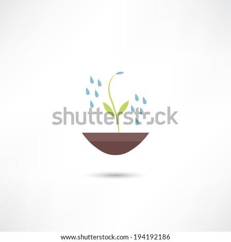 Watering plants icon - stock vector