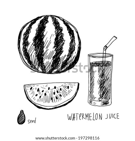 watermelon and juice, doodle illustration - stock vector