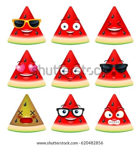 watermelon face, emojis,emotion,happy,summer,vector illustration