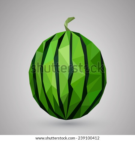 Watermelon healthy fruit Geometric illustration - stock vector