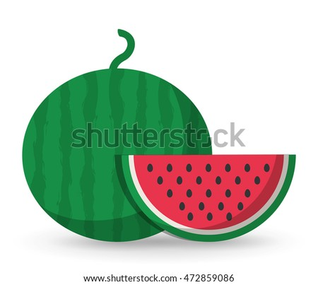 watermelon healthy organic food icon. Colorful and flat design. Vector illustration