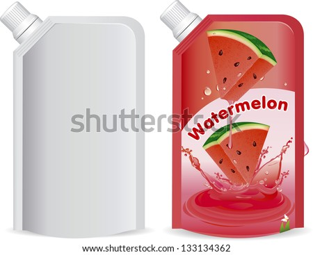 Watermelon juice packaging design, vector illustration - stock vector