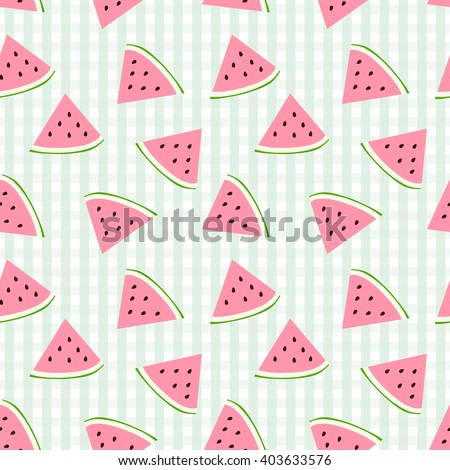 Watermelon seamless pattern with checkered background - stock vector