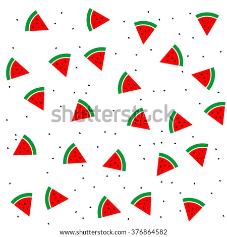 Watermelon slices and seeds seamless pattern background