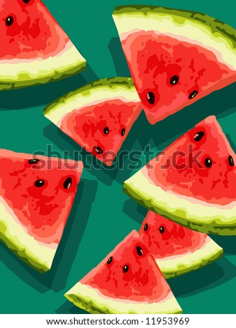 watermelon slices on green background - stock vector