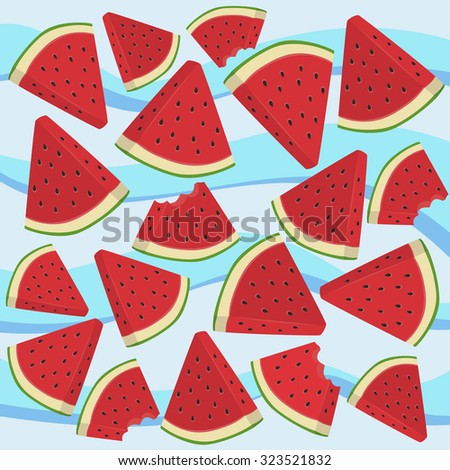 Watermelon Triangle Slice Bite. Vector illustration of watermelon fruit in blue wave background. - stock vector