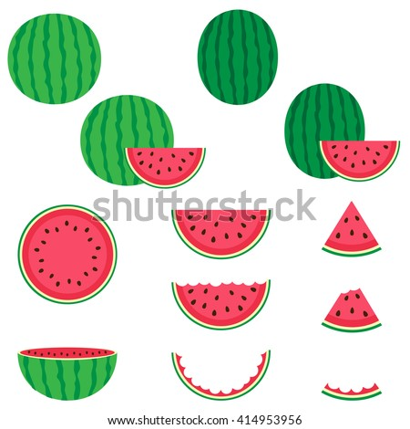 Watermelon vector icons set on white background - stock vector