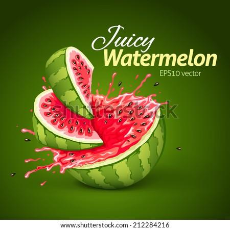 Watermelon with juice splash. Eps10 vector illustration - stock vector
