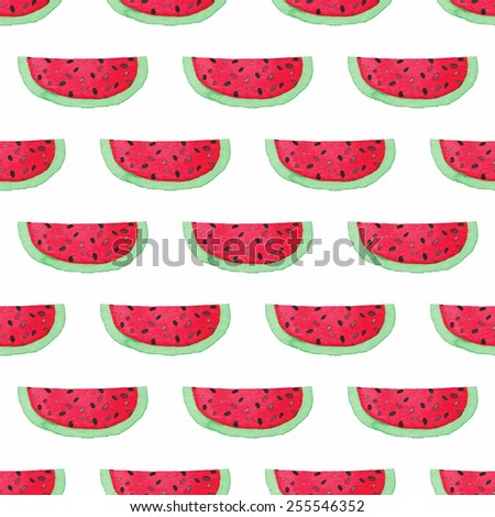 Watermelons. Seamless watercolor pattern with watermelon on the white background, aquarelle. Vector illustration. Hand-drawn original fruit background. Useful for invitations, scrapbooking, design. - stock vector