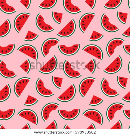 Watermelons Whole And Bitten Chunks Small Large Slices Evenly Placed Around The
