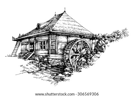 Watermill hand drawn artistic illustration - stock vector