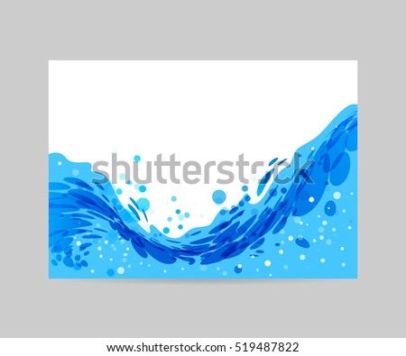 Wave abstract stylized background, brochure template, blue wave on white background
