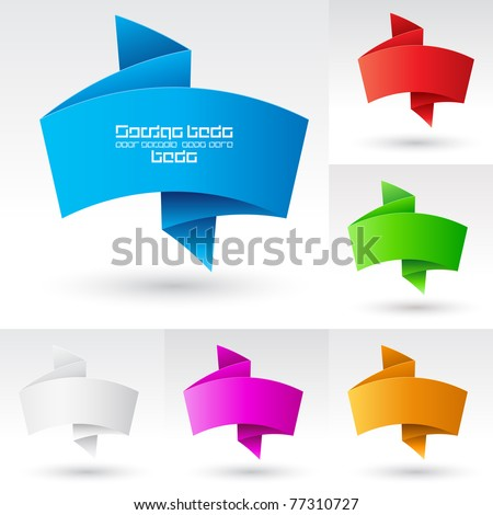 Wave Banners set number three. Illustration on white background for design - stock vector