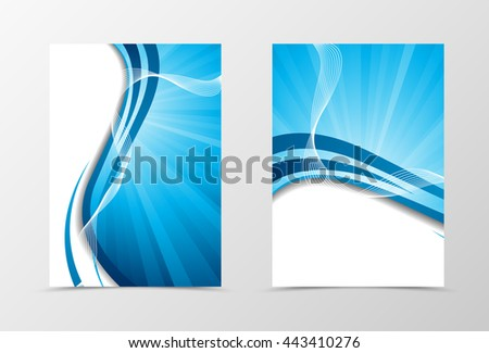 Wave flyer template design. Abstract flyer template in blue color with lines. Spectrum flyer design. Vector illustration - stock vector