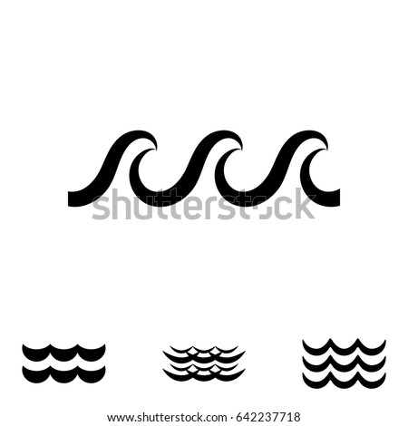 Wave Icons Water Liquid Symbols Isolated Stock Vector