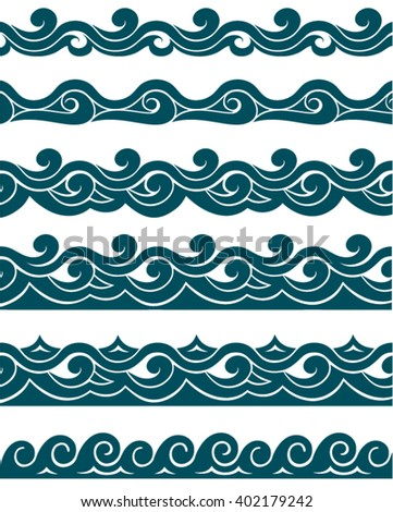 wave pattern, wave sea, wave set, wave ocean, - stock vector