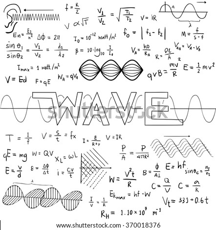 Wave physics science theory law and mathematical formula equation, doodle handwriting and frequencies model icon in isolated background paper used for school education and document decoration (vector)