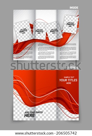 Wave red design template for tri-fold brochure - stock vector