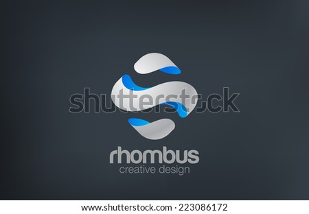 Wave Rhombus Logo design vector template. Sci fi theme. Square Abstract 3D Logotype. - stock vector